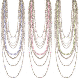 Nine Line Faux Pearl Necklace Blue, Pink or Green